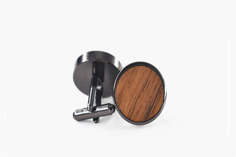 Image of Round Wooden Cufflinks