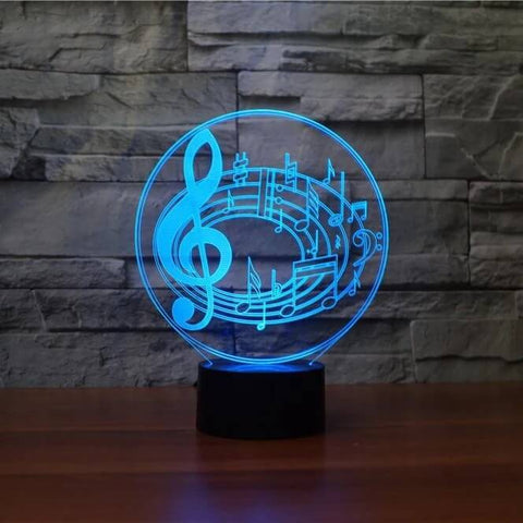 Image of Musical Notes 3D LED Illusion Lamp