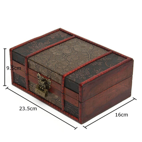 Vintage Wooden Jewelry Lock Storage Gift Box
