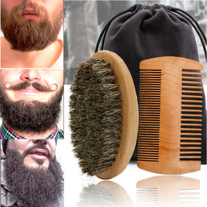 Men Wood Beard Comb Set