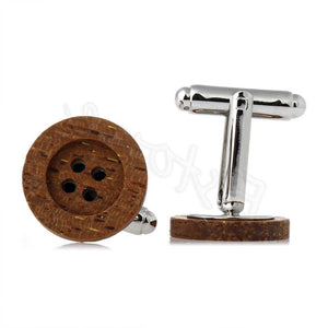 Mens Funky Wooden Button Cufflinks