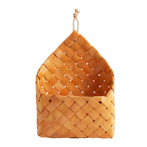 Image of Natural Cedar Sheet Woven Wall Hanging Basket