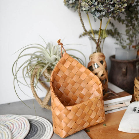 Natural Cedar Sheet Woven Wall Hanging Basket