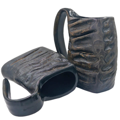 Image of Natural Hand-made Black Buffalo Horn Mug Viking Beer Drinking Mug