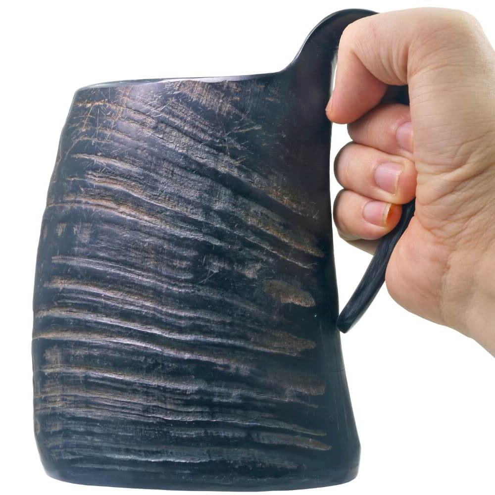 Natural Hand-made Black Buffalo Horn Mug Viking Beer Drinking Mug