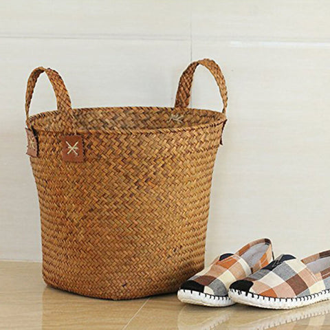 Image of Natural Round Straw Basket