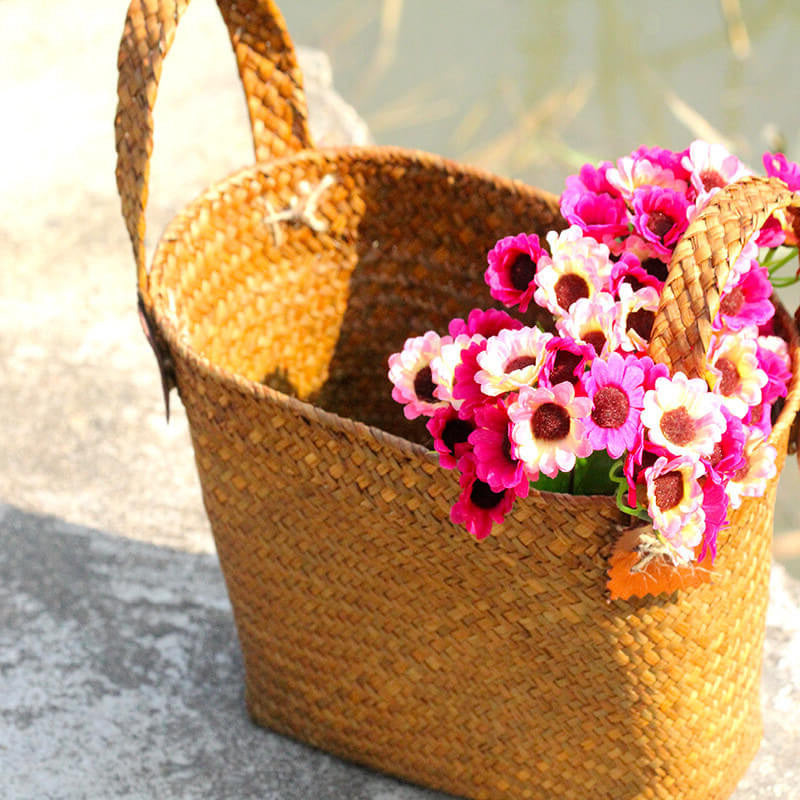 Natural Round Straw Basket