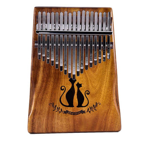 New 17 Key Kalimba Finger Thumb Piano Mbira Calimba African solid Acacia (Lovely Cat)