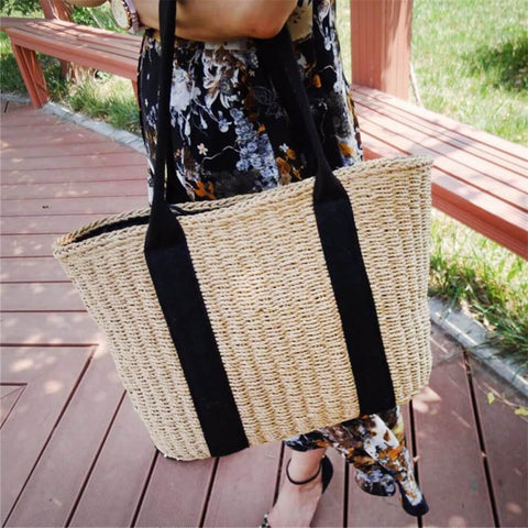Image of Portable Straw Woven Bag Handmade