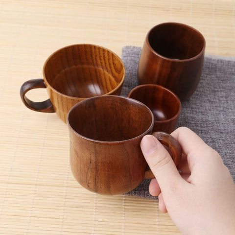 Primitive Handmade Wood Coffee Beer Juice Milk Tea Mug