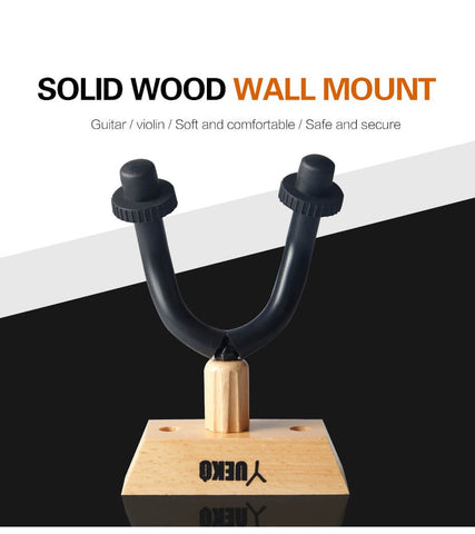 Solid Wood Guitar Hanger Wall Mount Stand Hook Holder Fits All Sizes Ukulele Guitar