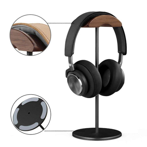 Image of Universal Wooden Aluminum Headphones Stand