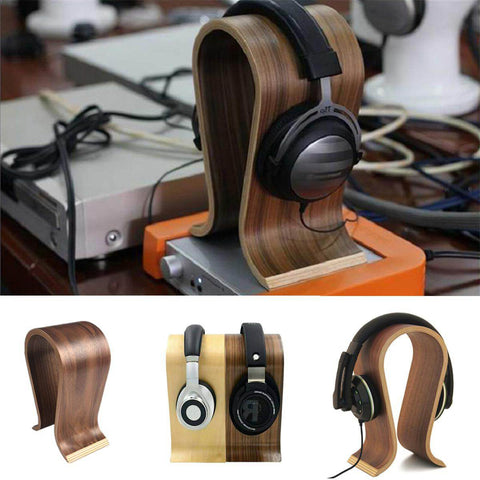 Universal U Shape Wood Headphone Stand