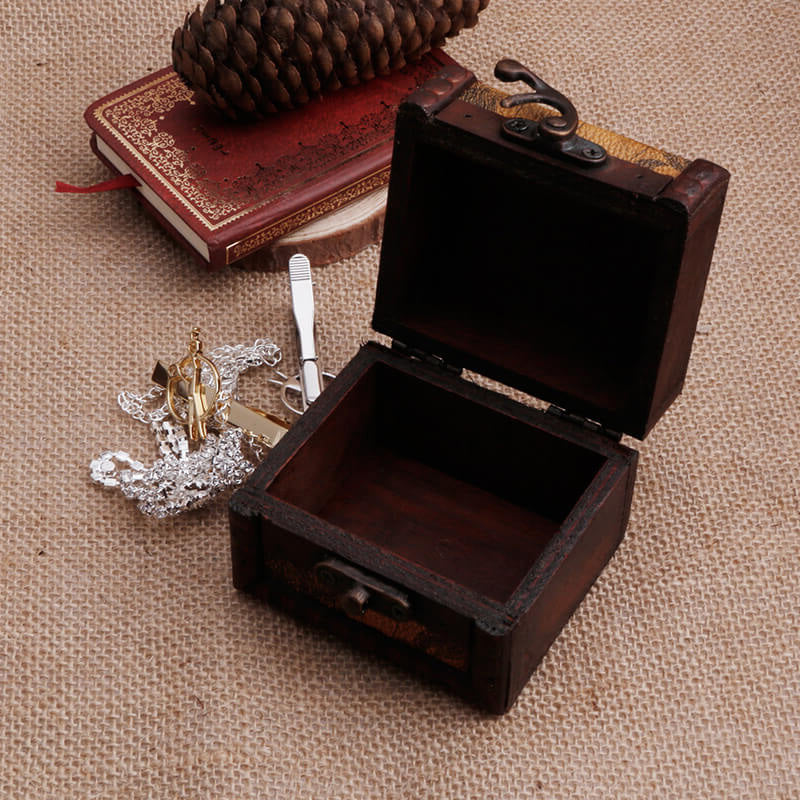 Vintage Wooden Map Storage Box Case Jewellery Cufflinks