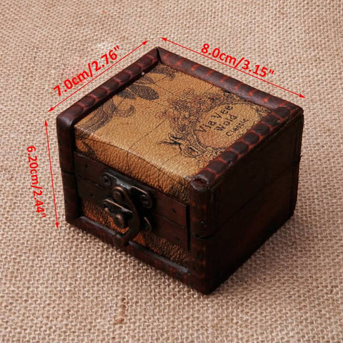 Image of Vintage Wooden Map Storage Box Case Jewellery Cufflinks