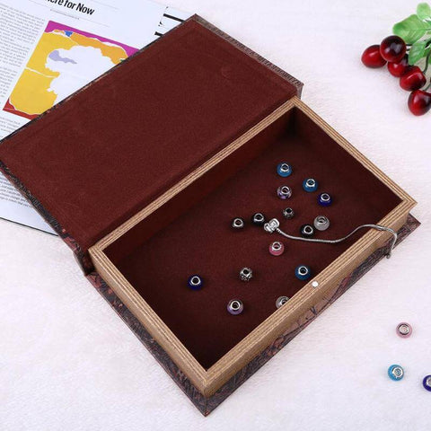 Image of Vintage Wooden Simulation Book Storage Box Crafts Gifts Jewelry Organizer