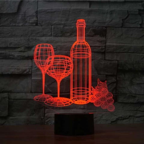 Wine 3D LED Illusion Lamp