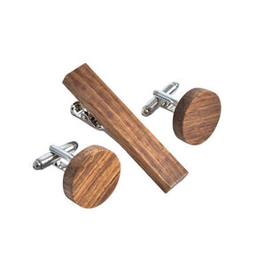 Wooden Tie Clip Cufflinks Set