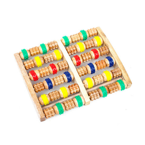 Image of Wooden 6 round massage quality roller foot massage fitness care gift