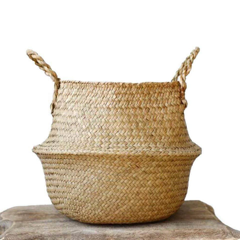 Image of Woven Seagrass Basket for Storage, Laundry, Picnic, Plant Pot Cover & Beach Bag