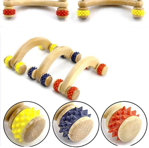 Image of Mini 4 Wheels Wooden Roller Massage Relaxation (Back Arms Legs Foot)