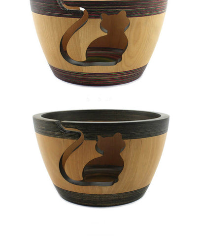 Image of Wooden Cat Yarn Bowl