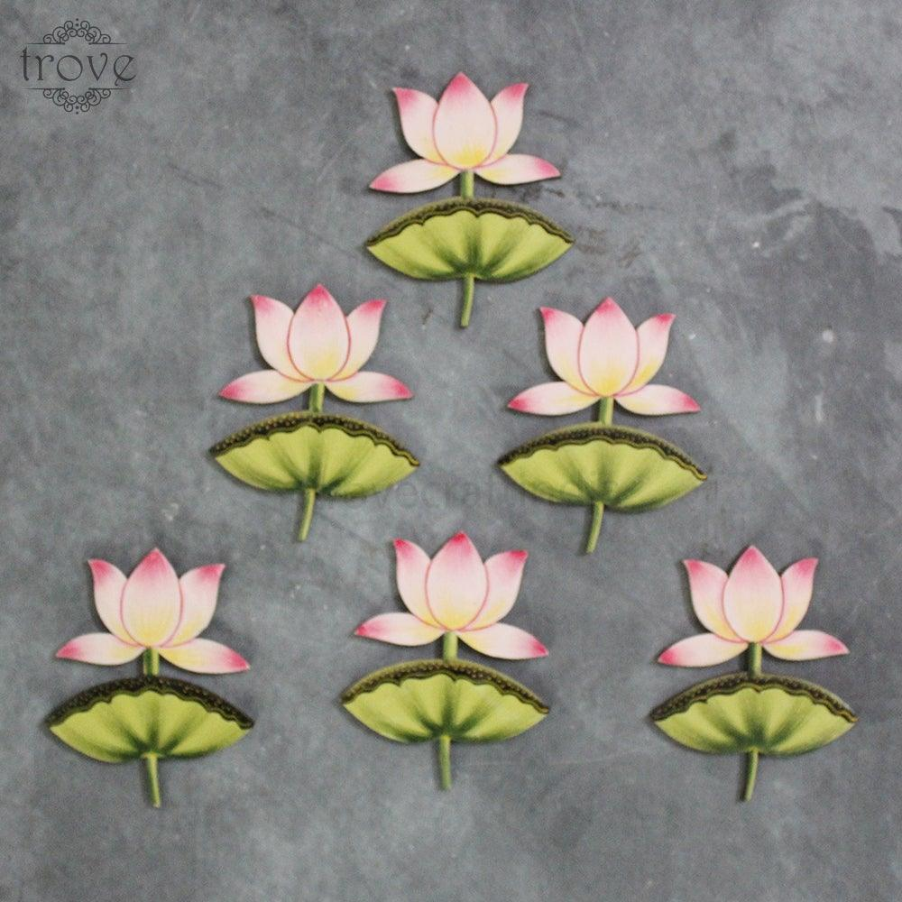 Set of 6 Lotuses In Pink - Cut Out