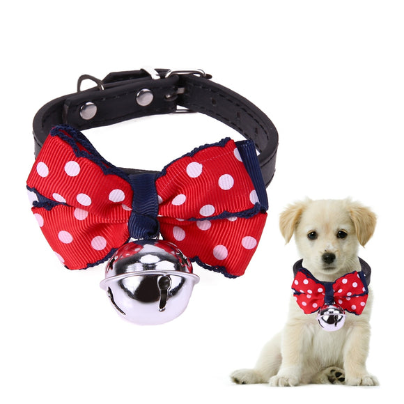 Adjustable Dog Collar Cats Puppy Dogs Bowtie Collar with Bell Necktie Christmas Pet Costume PU Collar for Small Dogs