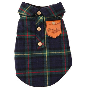 Plaid Print Dog Clothes Soft Fleece Vest Jacket For Small Dogs Autumn Winter Pet Cotton Clothing for Teddy  S to XL