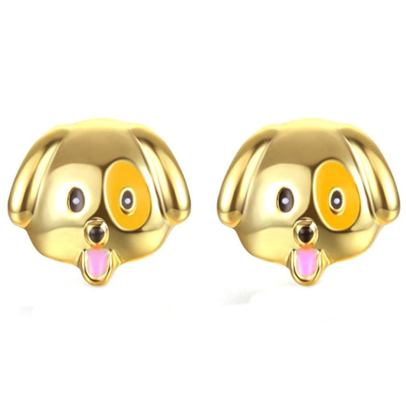 SUSENSTONE Alloy drip earrings cute puppy earrings gold / silver / rose gold 1 Pair New Fashion Simple Dog Head Alloy Women Stud