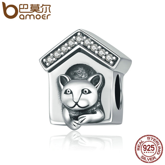 BAMOER 100% 925 Sterling Silver Dog-kennel Beads fit Original Charm Bracelets for SCC194