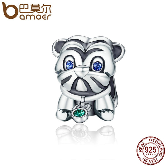 BAMOER Authentic 925 Sterling Silver Cute Puppy Animal Pug Beads