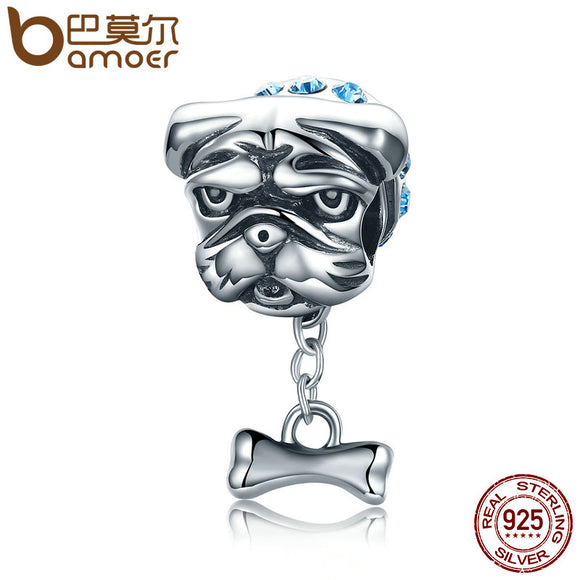 BAMOER Genuine 925 Sterling Silver Cute Bulldog charm. Fits Jewelry Making S925 SCC187