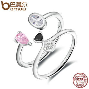 BAMOER Authentic 925 Sterling Silver Cute Doggy Face Open Finger Ring