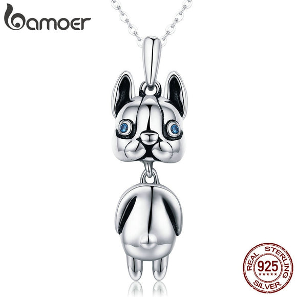 BAMOER  Authentic 925 Sterling Silver French Bulldog Pendant Necklaces