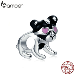 BAMOER 925 Sterling Silver Naughty Puppy Charm Beads fit Bracelet or Necklaces Jewelry SCC669