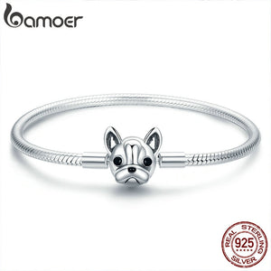 BAMOER 100% Genuine 925 Sterling Silver French Bulldog Doggy Snake Chain or bangles 17-19CM SCB075