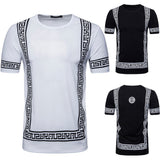 Men Tee Slim Fit O Neck Print Short Sleeve Muscle  Casual Tops Blouse Shirts