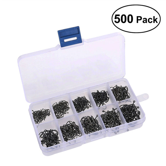 TINKSKY A Box of 500pcs 10 Different Sizes Fishing Hooks Fish Hooks Fishhooks