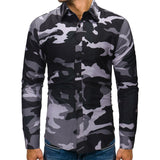 Men's Autumn Winter Camouflage Casual  Long Sleeve Shirt Top Blouse