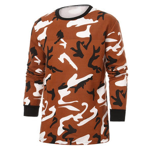 Men Autumn Winter Camouflage Print Long Sleeve O Neck Tops Blouse T Shirt