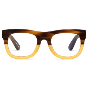 D28 CADDIS EYEGLASSES IN BULLET COLOR WHICH IS HONEY COLOR ON THE BOTTOM AND BROWN ON THE TOP