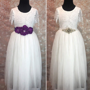 Purple and silver dress crashes on white flower girl dresses