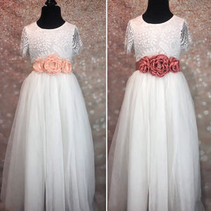 Triple Flower Girl Waist / Sash Corsage on white dresses