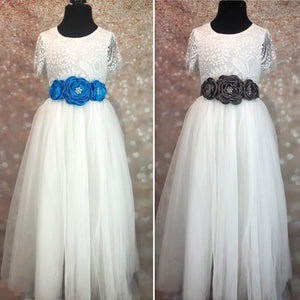 Blue and grey girls sash corsages