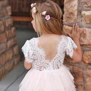 Back of Bohemian Princess Dress - Blush