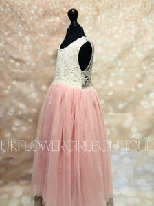 Baby Pink Flower Girl Dress Side View