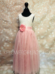 Baby Pink Flower Girl Dress with Corsage