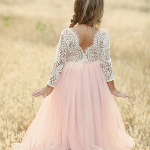 Long Sleeve Blush Pink Dress
