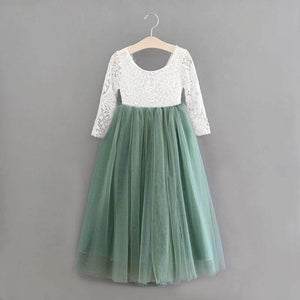 Sage green longer sleeve flower girl dress